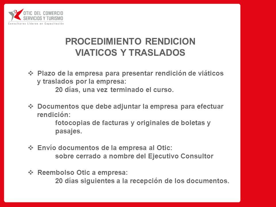 PROCEDIMIENTO RENDICION VIATICOS Y TRASLADOS  Plazo de la empresa para presentar rendición de viáticos y traslados por la empresa: 20 días, una vez terminado el curso.