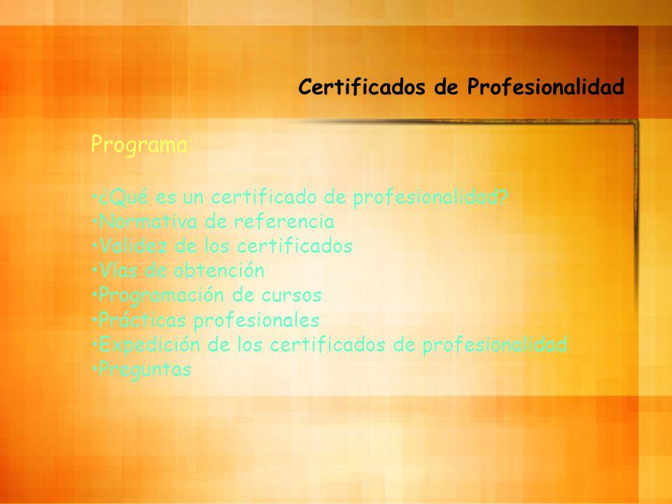 Certificados de Profesionalidad Programa: ¿Qué es un certificado de profesionalidad.