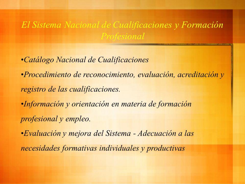 El Sistema Nacional de Cualificaciones y Formación Profesional Catálogo Nacional de Cualificaciones Procedimiento de reconocimiento, evaluación, acreditación y registro de las cualificaciones.