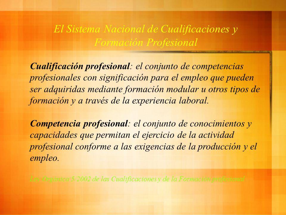 El Sistema Nacional de Cualificaciones y Formación Profesional Cualificación profesional: el conjunto de competencias profesionales con significación para el empleo que pueden ser adquiridas mediante formación modular u otros tipos de formación y a través de la experiencia laboral.