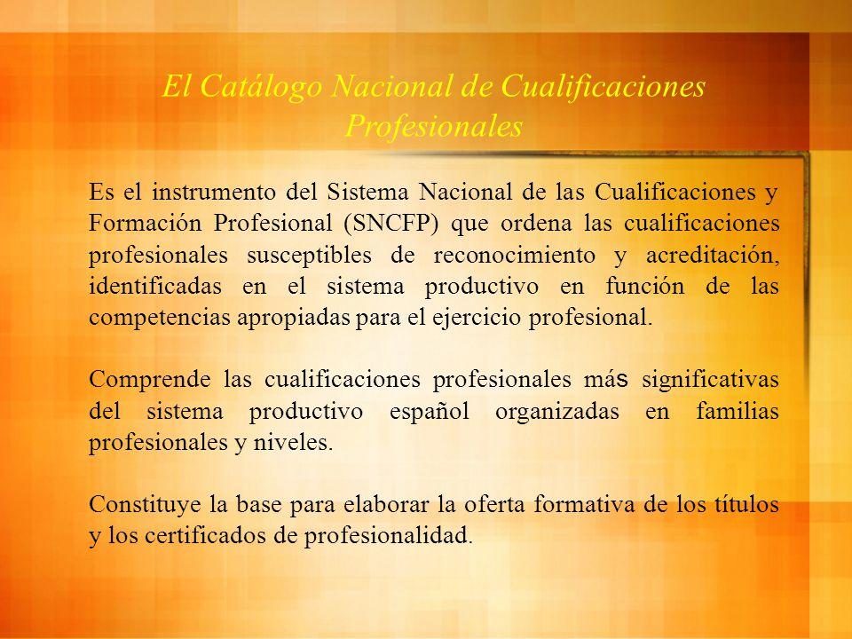 El Catálogo Nacional de Cualificaciones Profesionales Es el instrumento del Sistema Nacional de las Cualificaciones y Formación Profesional (SNCFP) que ordena las cualificaciones profesionales susceptibles de reconocimiento y acreditación, identificadas en el sistema productivo en función de las competencias apropiadas para el ejercicio profesional.
