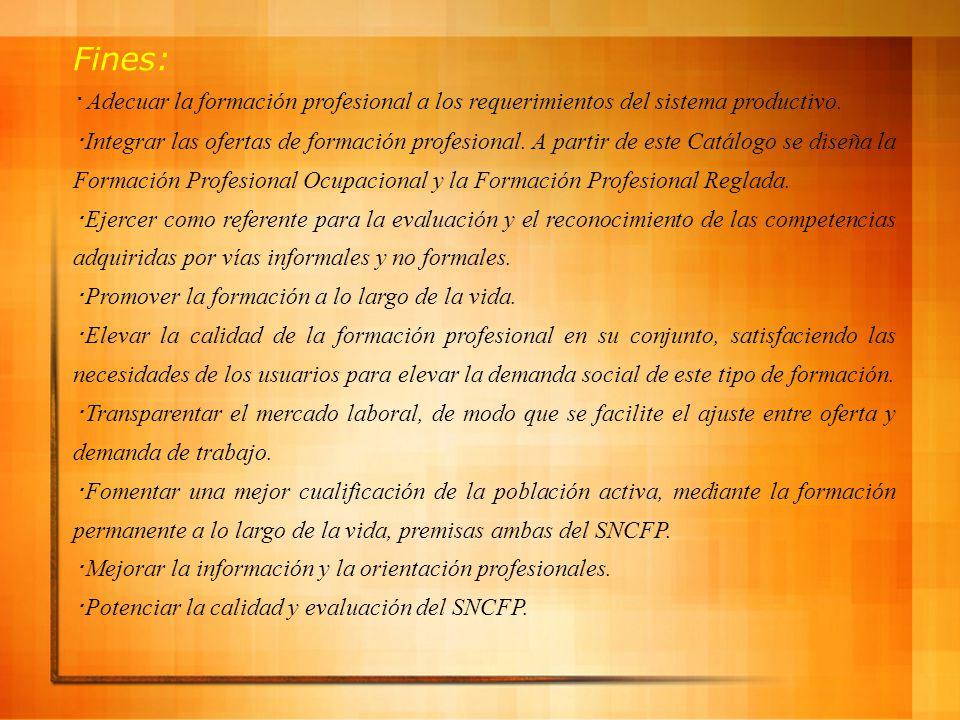Fines: ・ Adecuar la formación profesional a los requerimientos del sistema productivo.