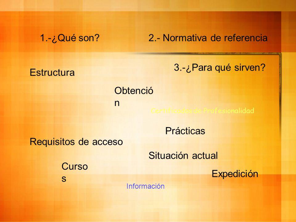Certificados de Profesionalidad 2.- Normativa de referencia Curso s Requisitos de acceso Estructura Expedición Prácticas 3.-¿Para qué sirven.