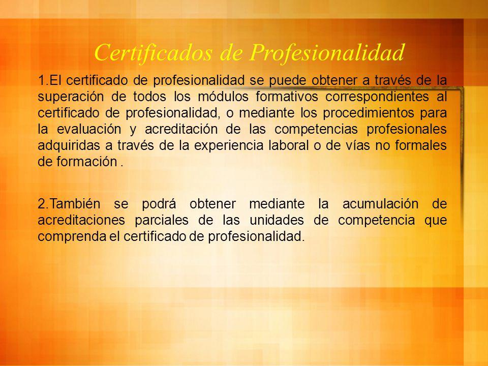 Certificados de Profesionalidad 1.El certificado de profesionalidad se puede obtener a través de la superación de todos los módulos formativos correspondientes al certificado de profesionalidad, o mediante los procedimientos para la evaluación y acreditación de las competencias profesionales adquiridas a través de la experiencia laboral o de vías no formales de formación.