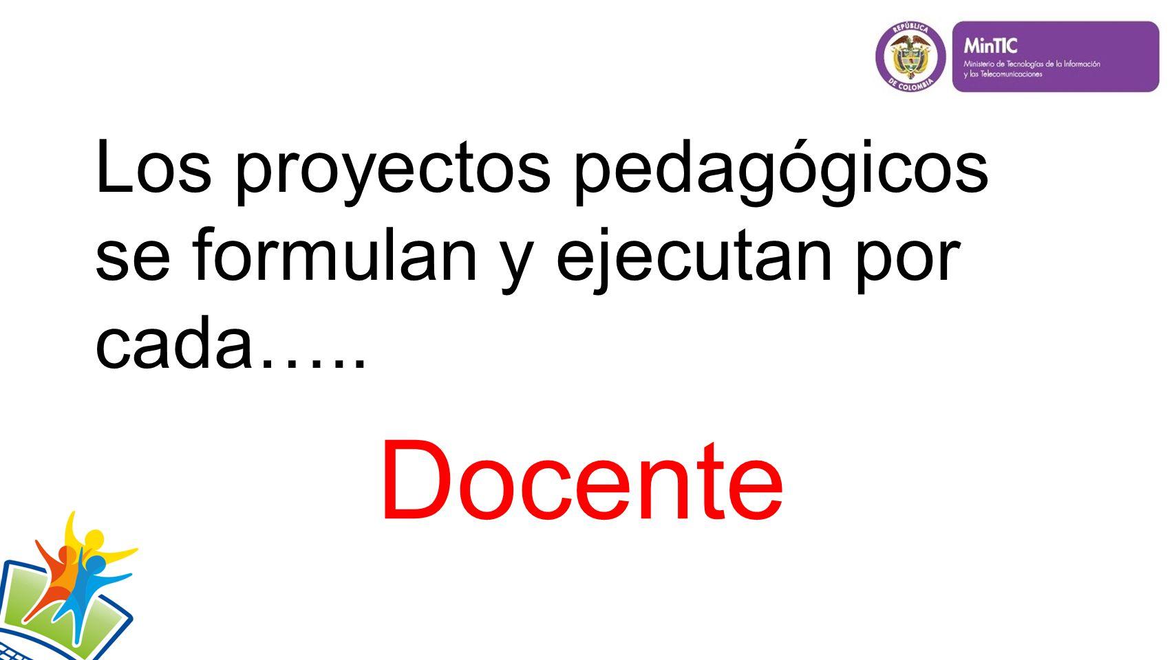 Los proyectos pedagógicos se formulan y ejecutan por cada….. Docente