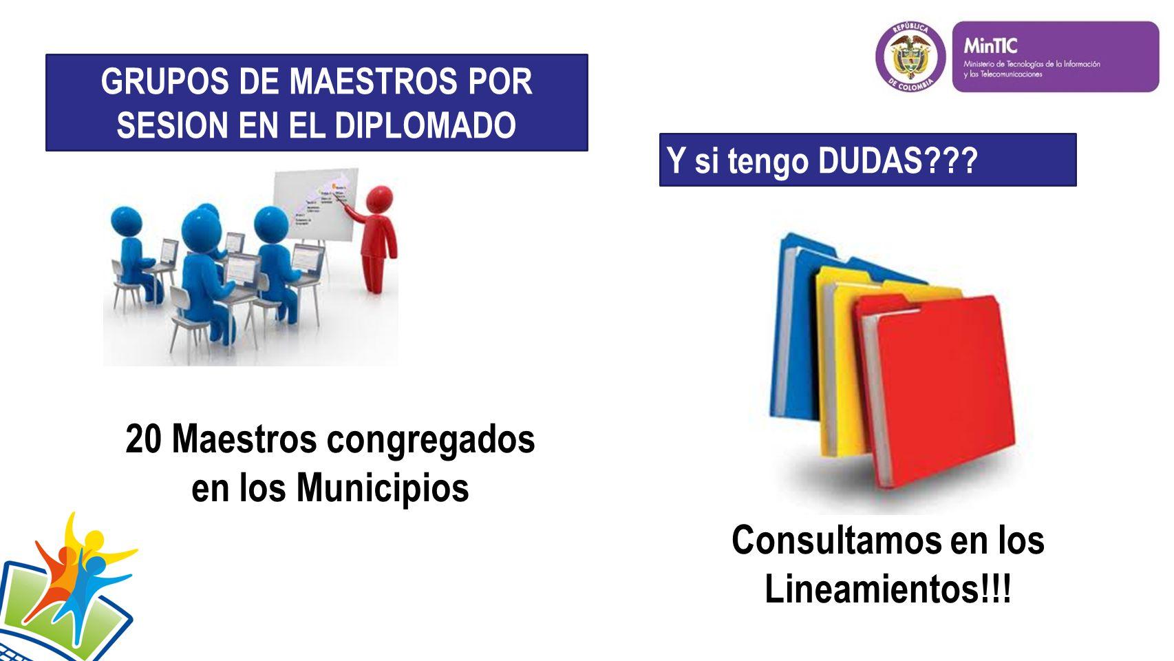 20 Maestros congregados en los Municipios GRUPOS DE MAESTROS POR SESION EN EL DIPLOMADO Y si tengo DUDAS .