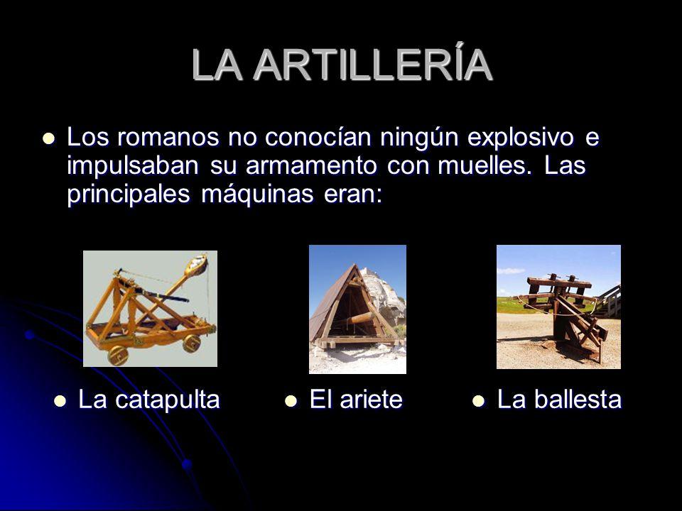 LA ARTILLERÍA Los romanos no conocían ningún explosivo e impulsaban su armamento con muelles.