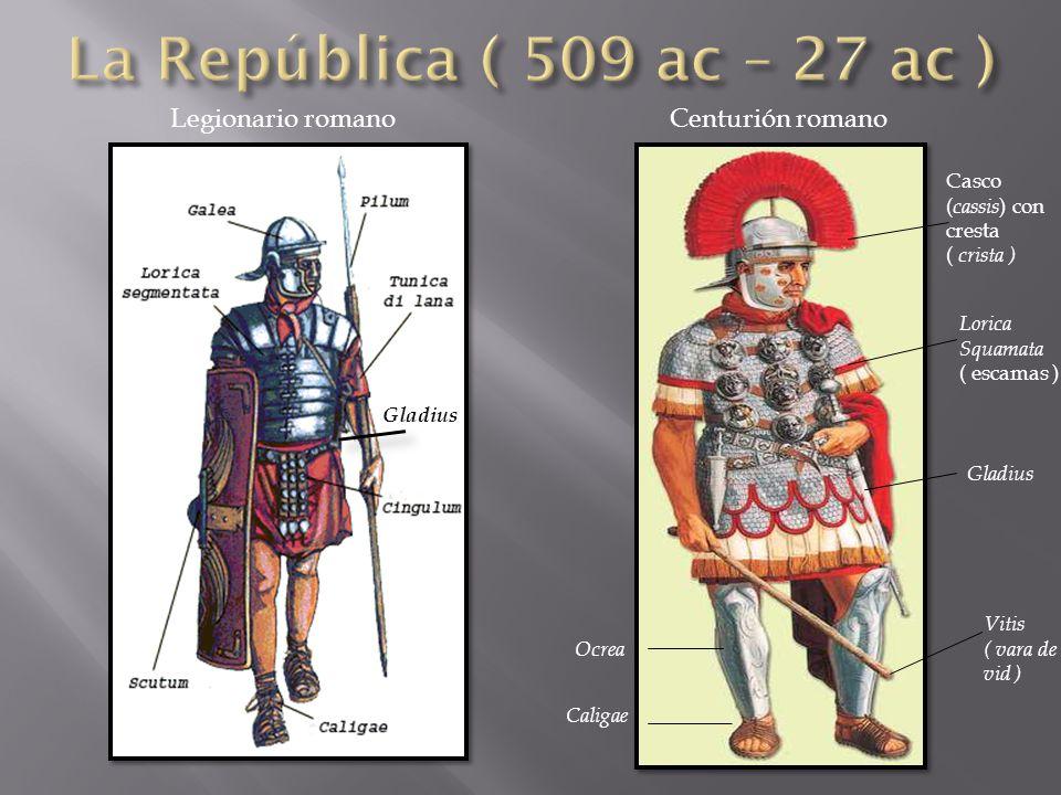 Gladius Casco ( cassis ) con cresta ( crista ) Lorica Squamata ( escamas ) Gladius Vitis ( vara de vid ) Ocrea Caligae Legionario romano Centurión romano