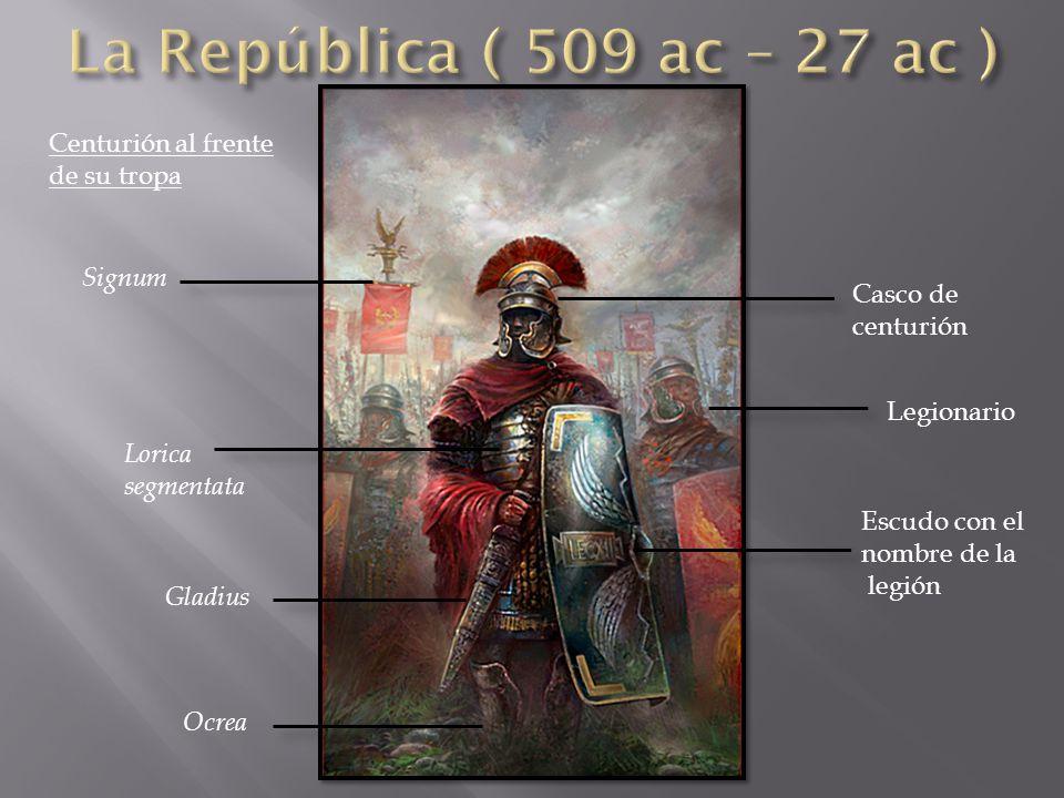 Casco de centurión Legionario Escudo con el nombre de la legión Signum Lorica segmentata Gladius Ocrea Centurión al frente de su tropa