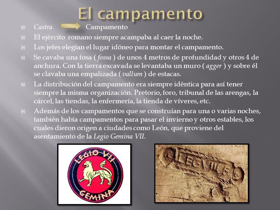 Castra Campamento  El ejército romano siempre acampaba al caer la noche.