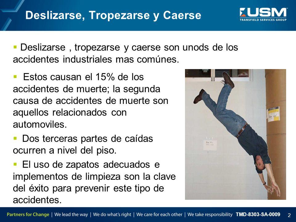 TMD-8303-SA-0009 2 Deslizarse, Tropezarse y Caerse  Estos causan el 15% de los accidentes de muerte; la segunda causa de accidentes de muerte son aqu