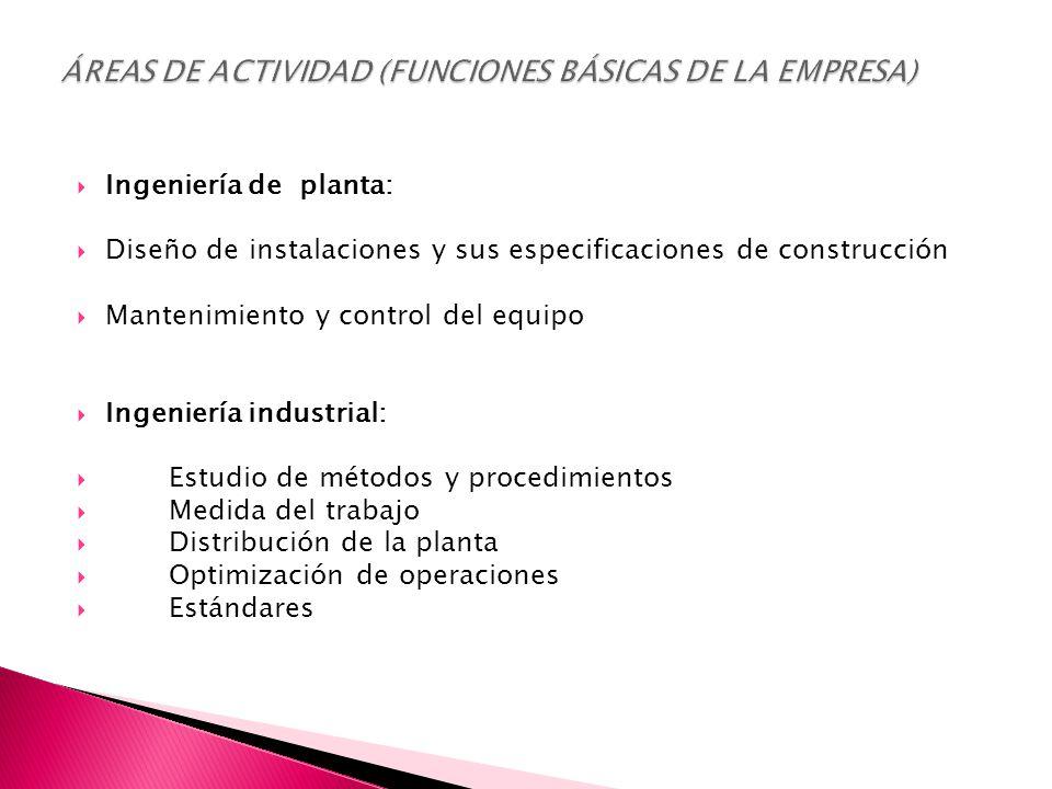  Ingeniería de planta:  Diseño de instalaciones y sus especificaciones de construcción  Mantenimiento y control del equipo  Ingeniería industrial:  Estudio de métodos y procedimientos  Medida del trabajo  Distribución de la planta  Optimización de operaciones  Estándares
