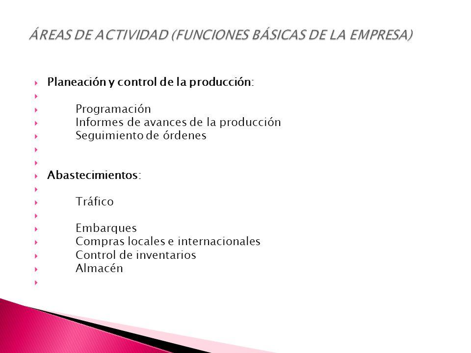  Planeación y control de la producción:   Programación  Informes de avances de la producción  Seguimiento de órdenes   Abastecimientos:   Tráfico   Embarques  Compras locales e internacionales  Control de inventarios  Almacén 