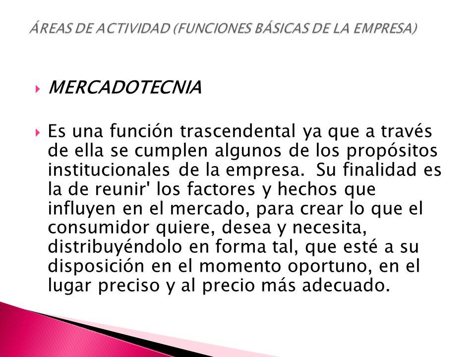  MERCADOTECNIA  Es una función trascendental ya que a través de ella se cumplen algunos de los propósitos institucionales de la empresa.