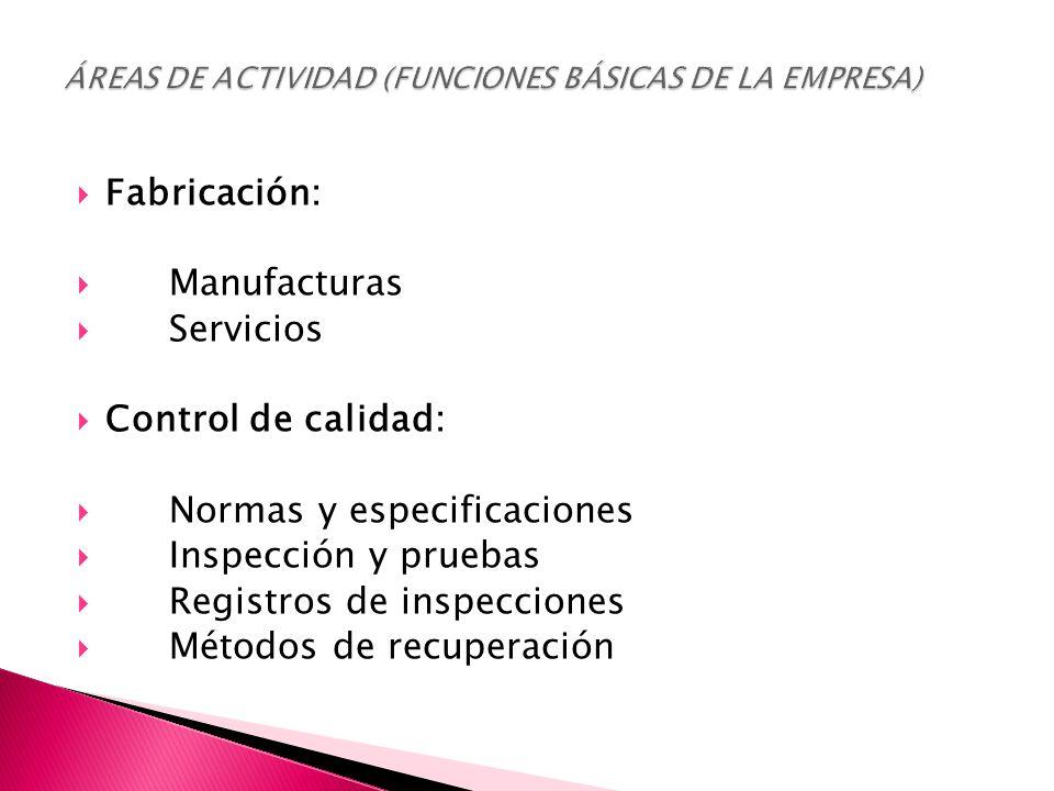  Fabricación:  Manufacturas  Servicios  Control de calidad:  Normas y especificaciones  Inspección y pruebas  Registros de inspecciones  Métodos de recuperación