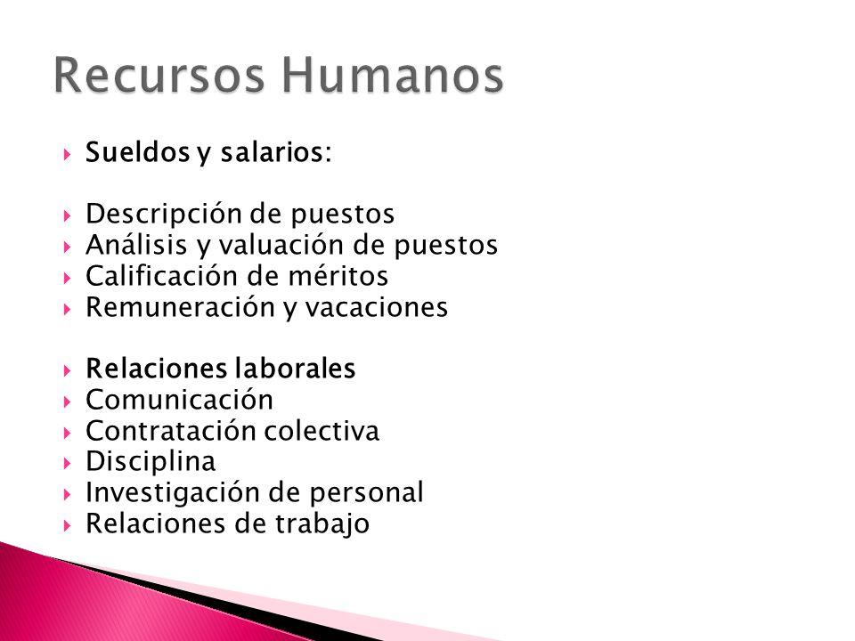  Sueldos y salarios:  Descripción de puestos  Análisis y valuación de puestos  Calificación de méritos  Remuneración y vacaciones  Relaciones laborales  Comunicación  Contratación colectiva  Disciplina  Investigación de personal  Relaciones de trabajo