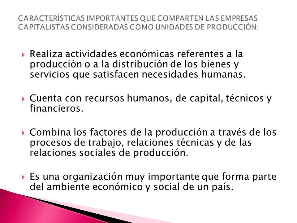  Realiza actividades económicas referentes a la producción o a la distribución de los bienes y servicios que satisfacen necesidades humanas.