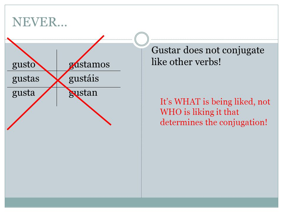 NEVER… gustogustamos gustasgustáis gustagustan Gustar does not conjugate like other verbs.