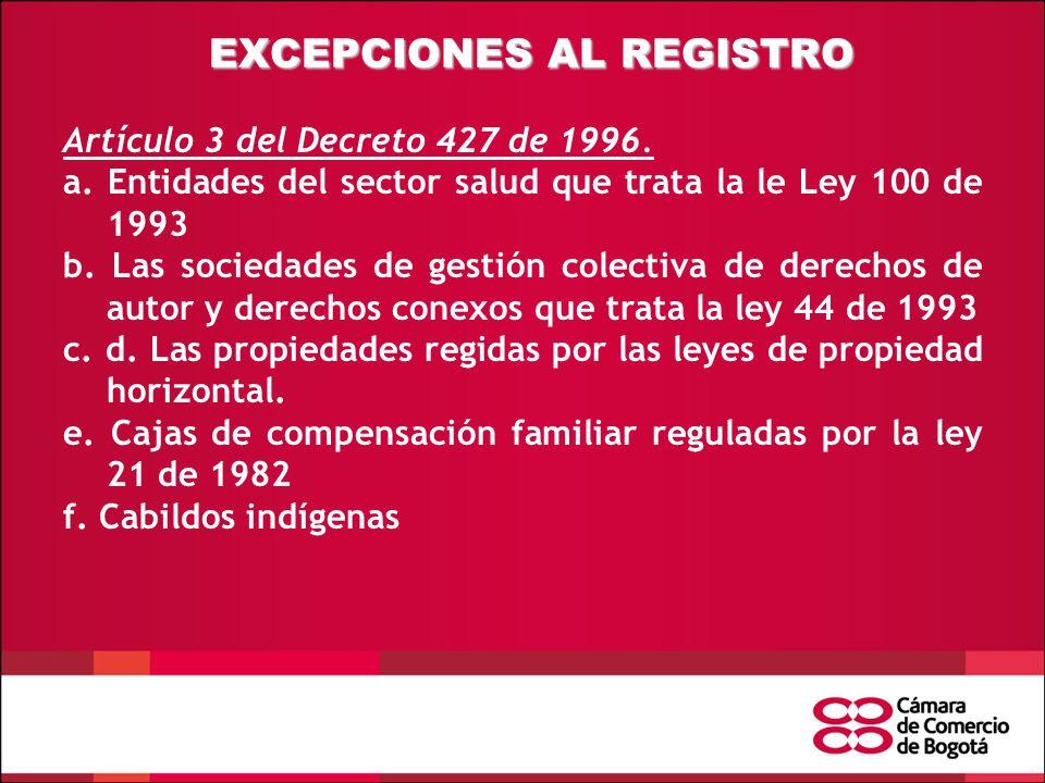 EXCEPCIONES AL REGISTRO Artículo 3 del Decreto 427 de 1996.