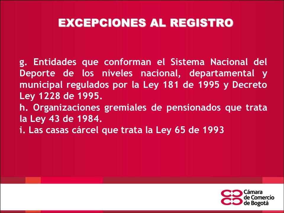EXCEPCIONES AL REGISTRO g.