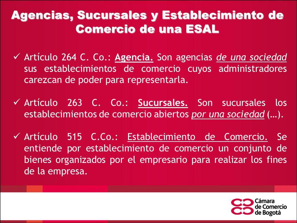 Agencias, Sucursales y Establecimiento de Comercio de una ESAL Artículo 264 C.