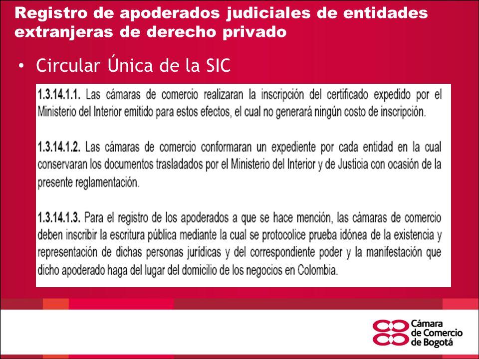 Registro de apoderados judiciales de entidades extranjeras de derecho privado Circular Única de la SIC