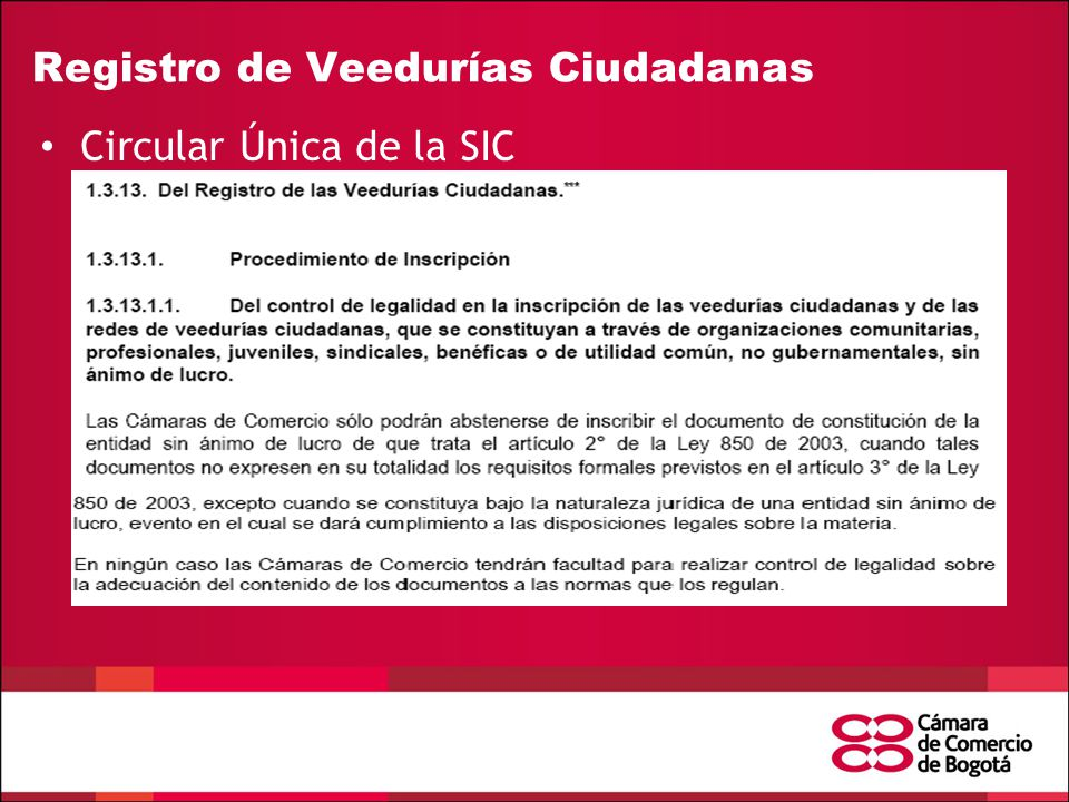 Registro de Veedurías Ciudadanas Circular Única de la SIC