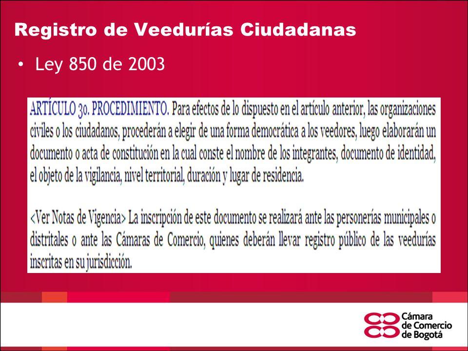 Registro de Veedurías Ciudadanas Ley 850 de 2003