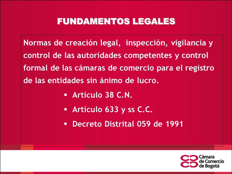 FUNDAMENTOS LEGALES Normas de creación legal, inspección, vigilancia y control de las autoridades competentes y control formal de las cámaras de comercio para el registro de las entidades sin ánimo de lucro.