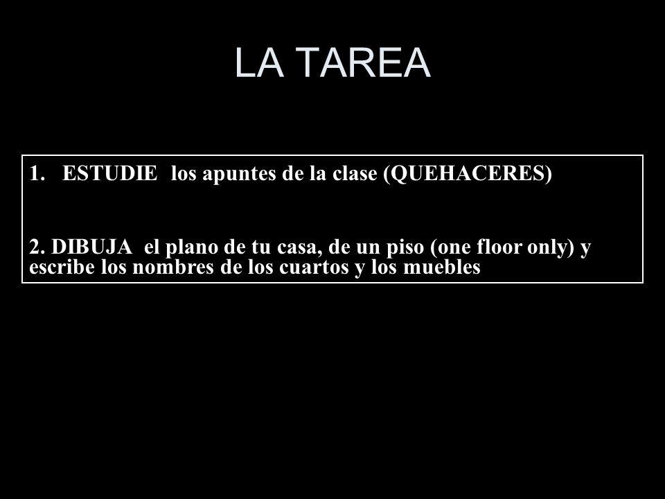 LA TAREA 1.ESTUDIE los apuntes de la clase (QUEHACERES) 2. DIBUJA el plano de tu casa, de un piso (one floor only) y escribe los nombres de los cuarto