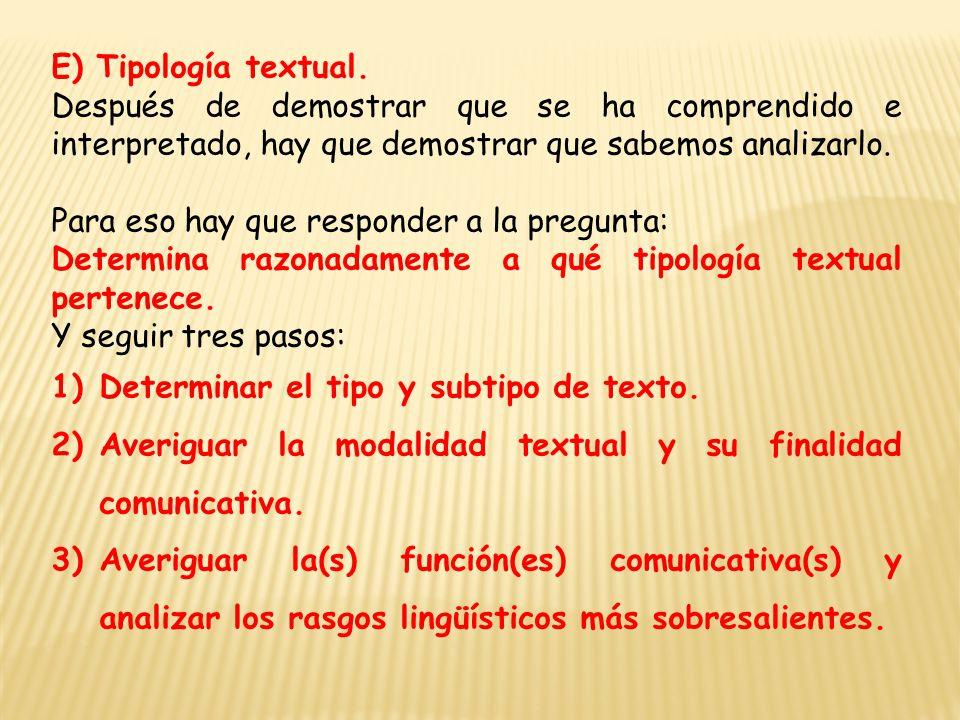 E) Tipología textual.