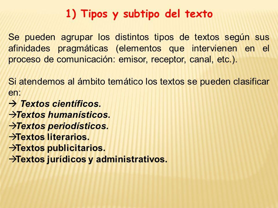 1) Tipos y subtipo del texto Se pueden agrupar los distintos tipos de textos según sus afinidades pragmáticas (elementos que intervienen en el proceso de comunicación: emisor, receptor, canal, etc.).