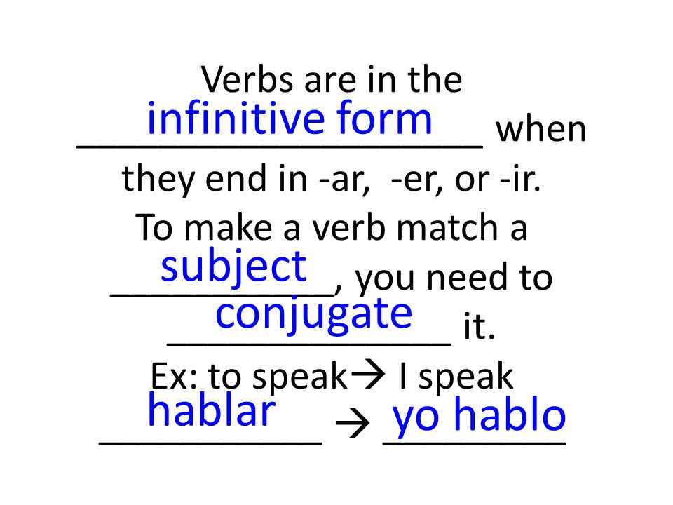 Verbs are in the ____________________ when they end in -ar, -er, or -ir.