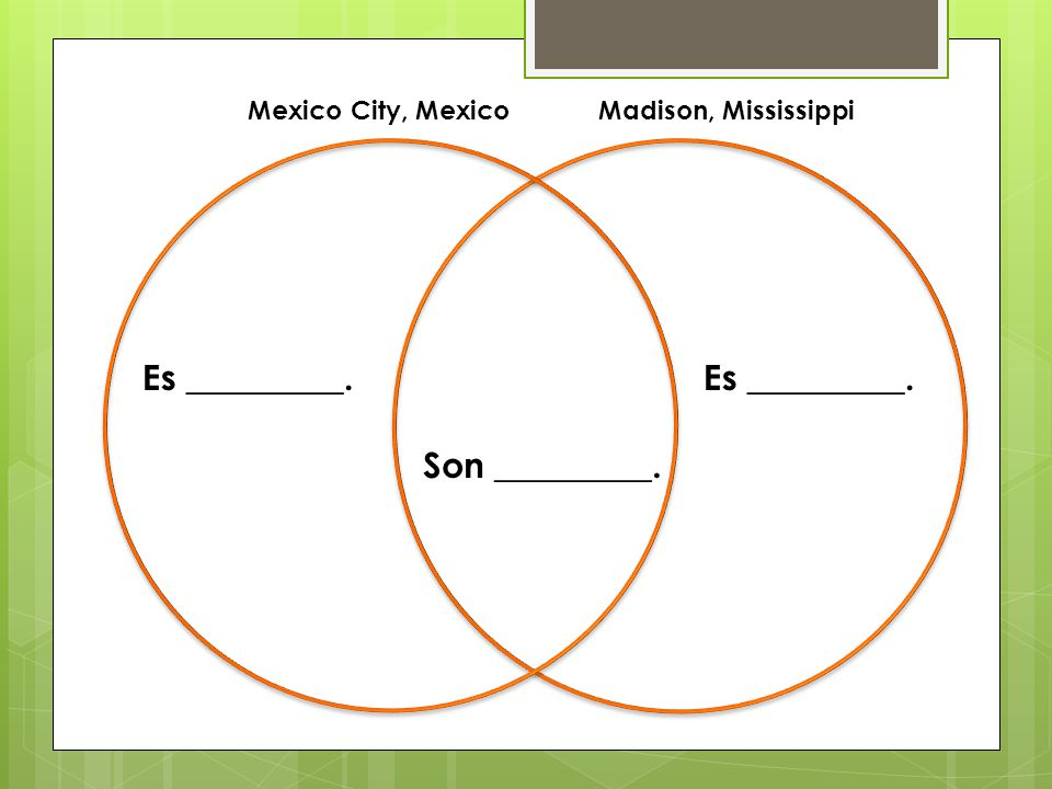 Es _________. Son _________. Mexico City, MexicoMadison, Mississippi