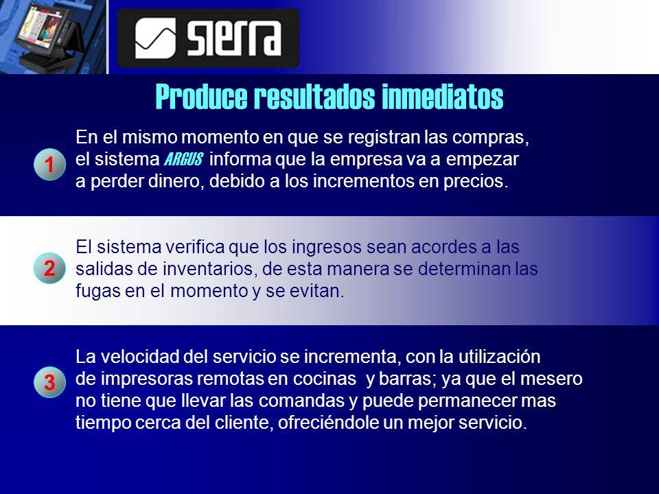 Produce resultados inmediatos En el mismo momento en que se registran las compras, el sistema ARGUS informa que la empresa va a empezar a perder dinero, debido a los incrementos en precios.
