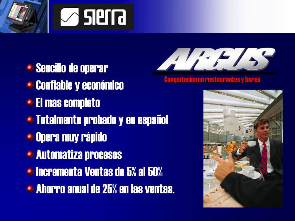 Sencillo de operar Confiable y económico El mas completo Totalmente probado y en español Opera muy rápido Automatiza procesos Incrementa Ventas de 5% al 50% Ahorro anual de 25% en las ventas.
