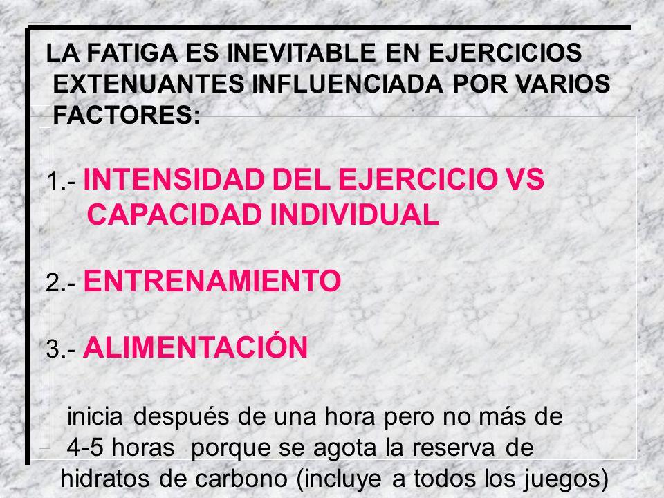 LA FATIGA ES INEVITABLE EN EJERCICIOS EXTENUANTES INFLUENCIADA POR VARIOS FACTORES: 1.- INTENSIDAD DEL EJERCICIO VS CAPACIDAD INDIVIDUAL 2.- ENTRENAMI
