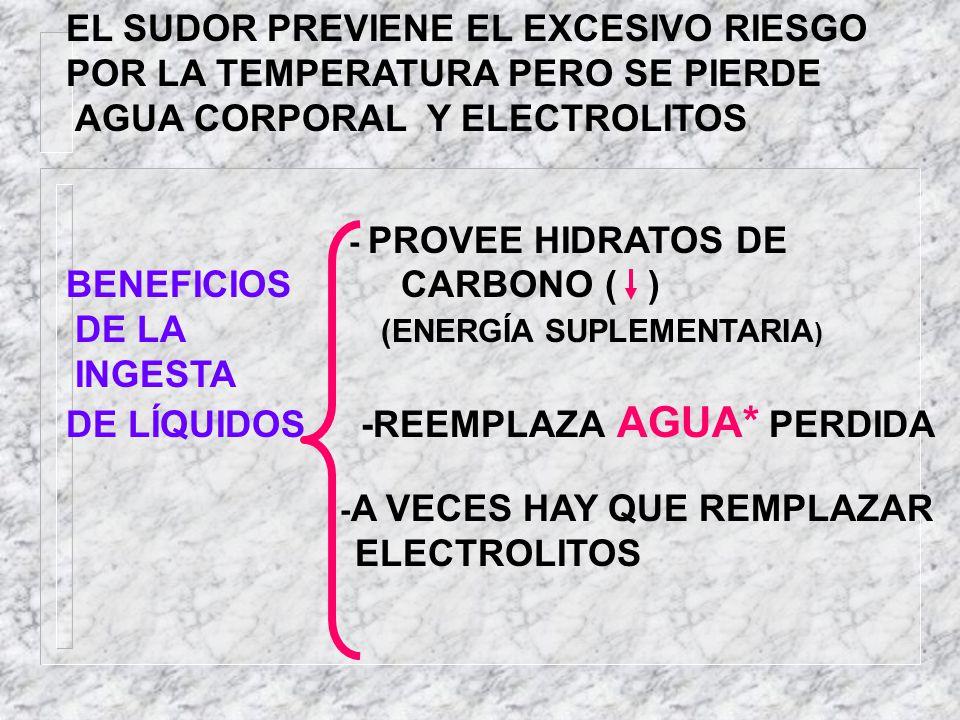 EL SUDOR PREVIENE EL EXCESIVO RIESGO POR LA TEMPERATURA PERO SE PIERDE AGUA CORPORAL Y ELECTROLITOS - PROVEE HIDRATOS DE BENEFICIOS CARBONO ( ) DE LA