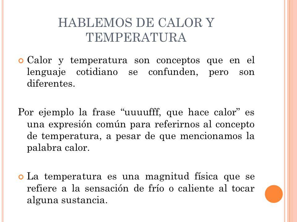 """Calor y temperatura son conceptos que en el lenguaje cotidiano se confunden, pero son diferentes. Por ejemplo la frase """"uuuufff, que hace calor"""" es un"""