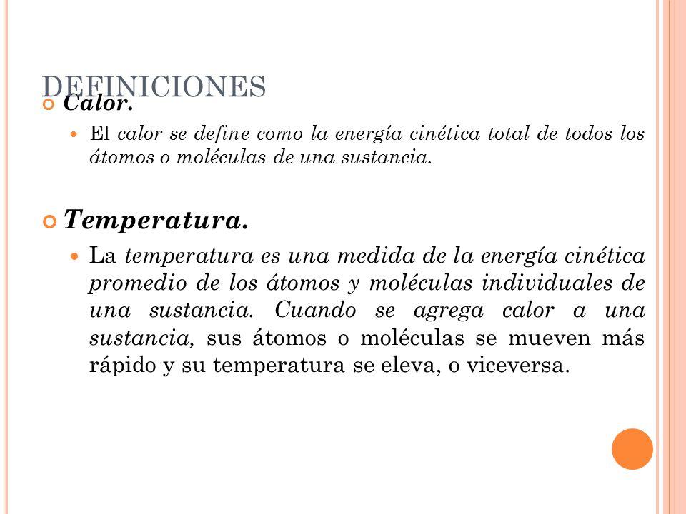 Calor. El calor se define como la energía cinética total de todos los átomos o moléculas de una sustancia. Temperatura. La temperatura es una medida d