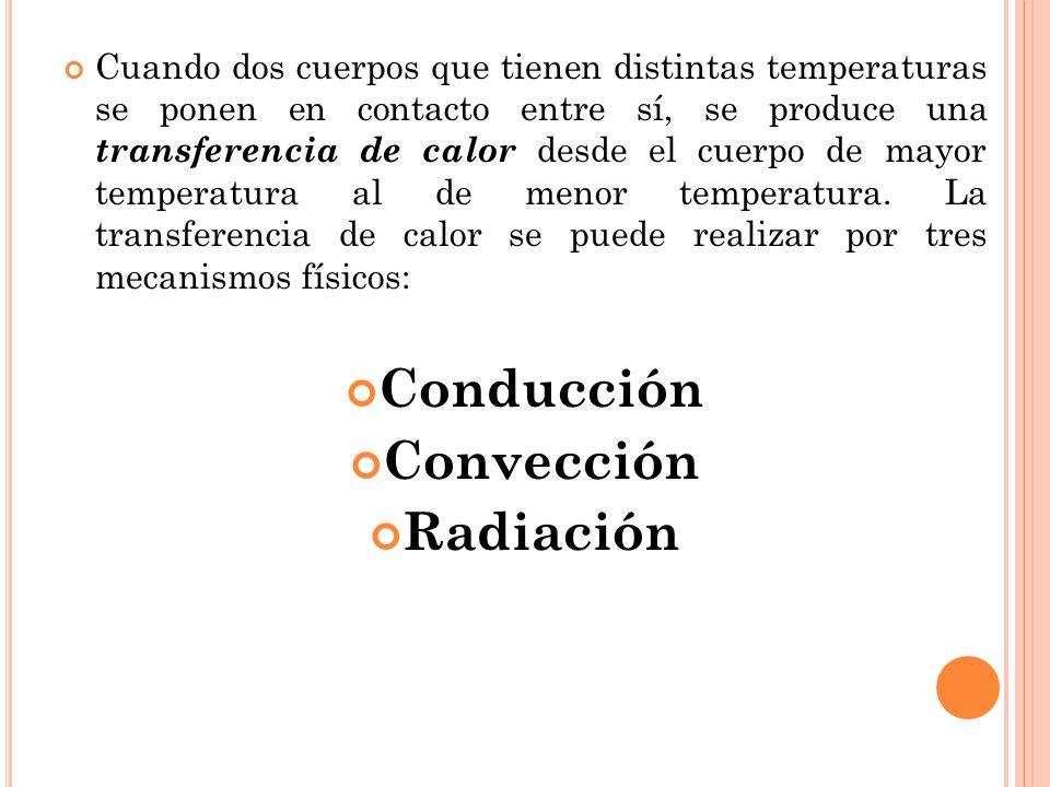 Cuando dos cuerpos que tienen distintas temperaturas se ponen en contacto entre sí, se produce una transferencia de calor desde el cuerpo de mayor tem