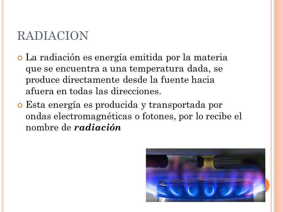 La radiación es energía emitida por la materia que se encuentra a una temperatura dada, se produce directamente desde la fuente hacia afuera en todas