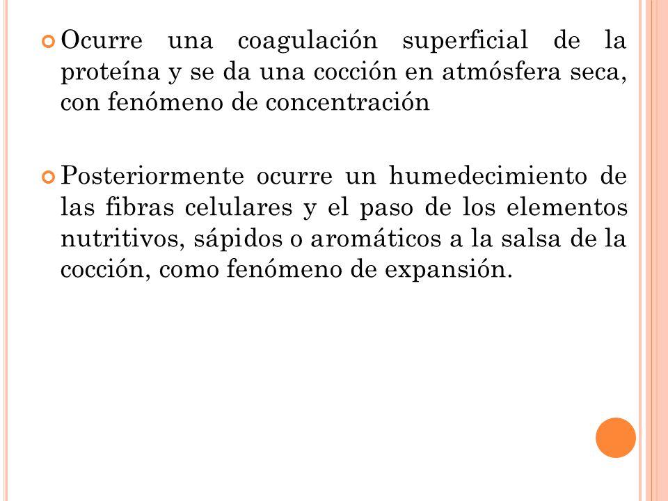 Ocurre una coagulación superficial de la proteína y se da una cocción en atmósfera seca, con fenómeno de concentración Posteriormente ocurre un humede