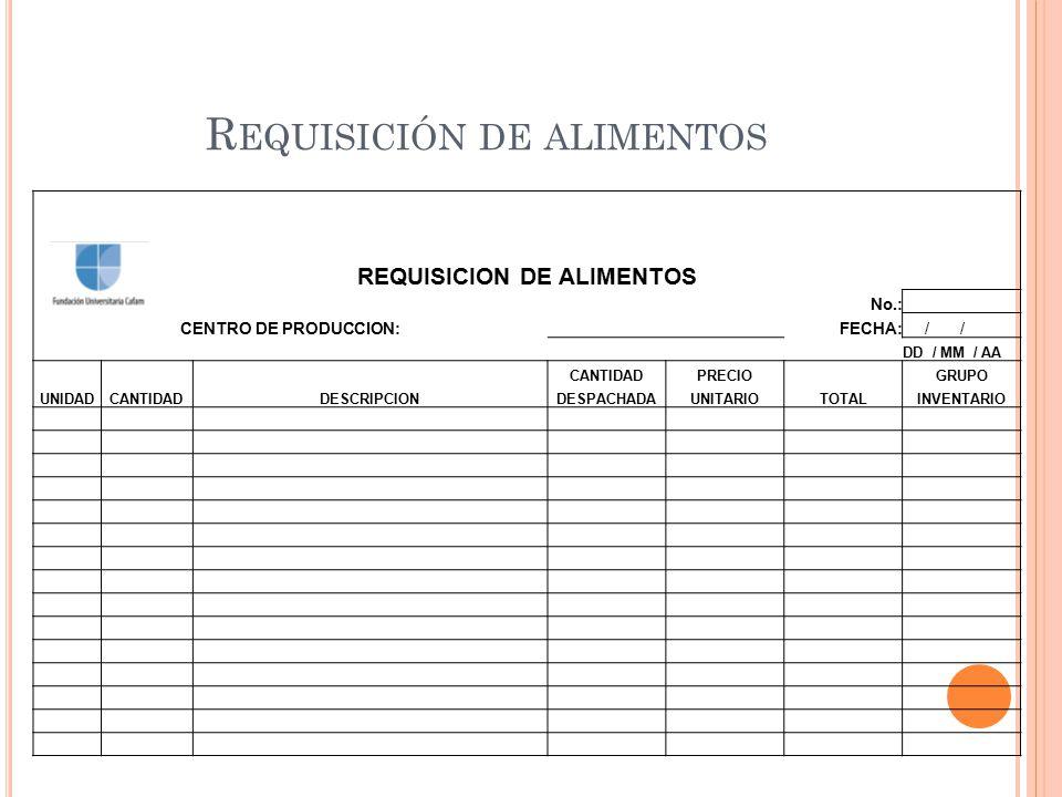 R EQUISICIÓN DE ALIMENTOS REQUISICION DE ALIMENTOS No.: CENTRO DE PRODUCCION: FECHA: / / DD / MM / AA UNIDADCANTIDADDESCRIPCION CANTIDADPRECIO TOTAL G