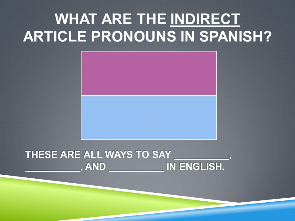 WHAT ARE THE INDIRECT ARTICLE PRONOUNS IN SPANISH.