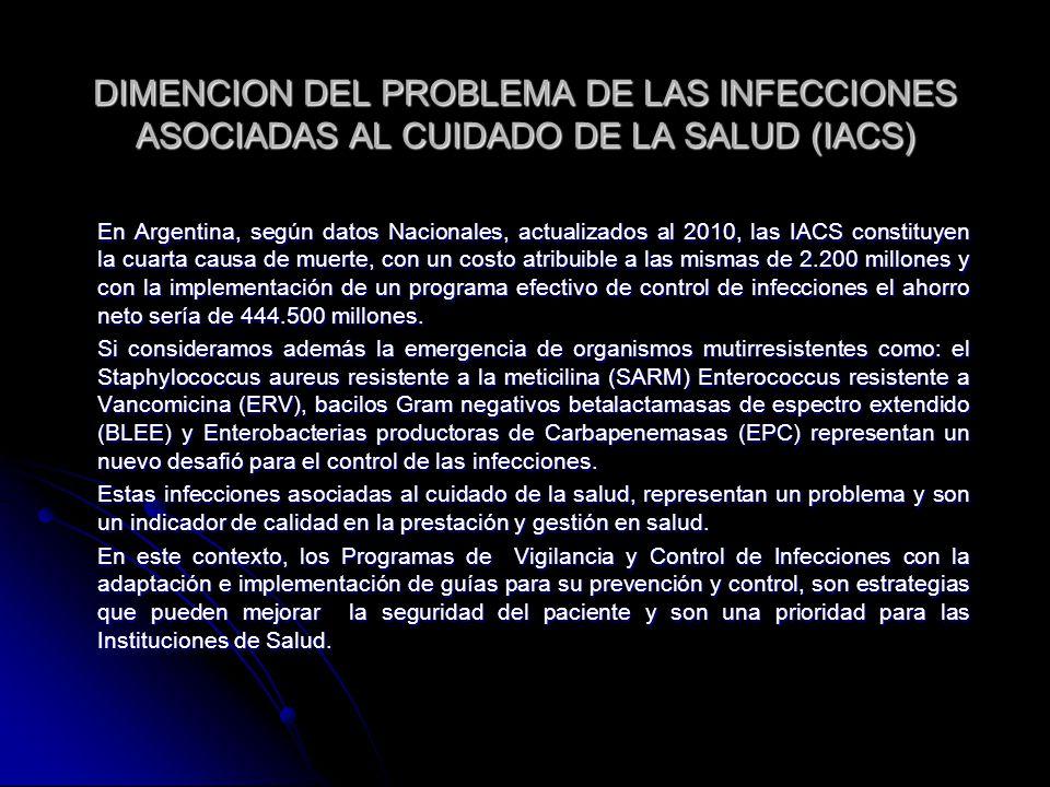DIMENCION DEL PROBLEMA DE LAS INFECCIONES ASOCIADAS AL CUIDADO DE LA SALUD (IACS) En Argentina, según datos Nacionales, actualizados al 2010, las IACS