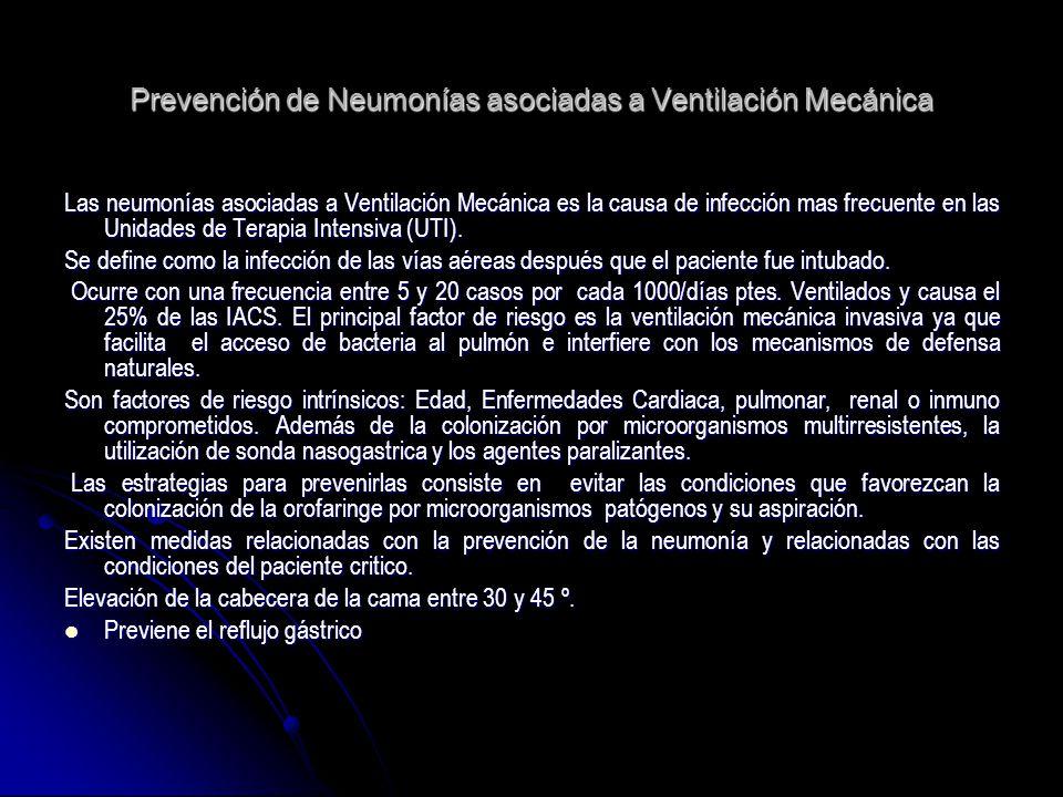 Prevención de Neumonías asociadas a Ventilación Mecánica Las neumonías asociadas a Ventilación Mecánica es la causa de infección mas frecuente en las
