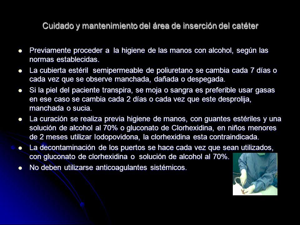 Cuidado y mantenimiento del área de inserción del catéter Previamente proceder a la higiene de las manos con alcohol, según las normas establecidas. P