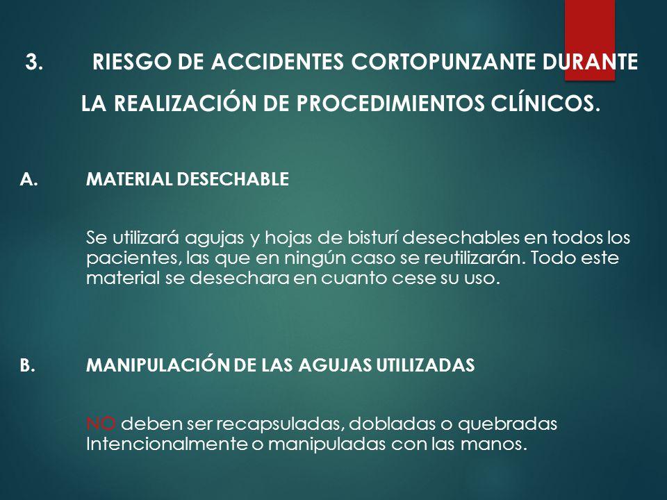 3.RIESGO DE ACCIDENTES CORTOPUNZANTE DURANTE LA REALIZACIÓN DE PROCEDIMIENTOS CLÍNICOS.