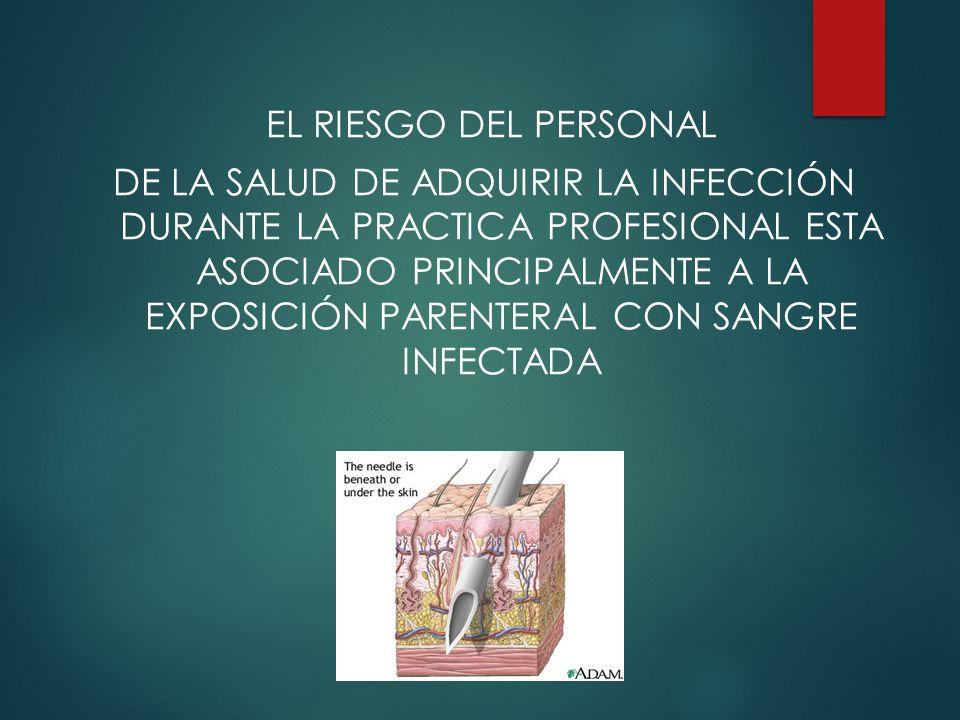 EL RIESGO DEL PERSONAL DE LA SALUD DE ADQUIRIR LA INFECCIÓN DURANTE LA PRACTICA PROFESIONAL ESTA ASOCIADO PRINCIPALMENTE A LA EXPOSICIÓN PARENTERAL CON SANGRE INFECTADA